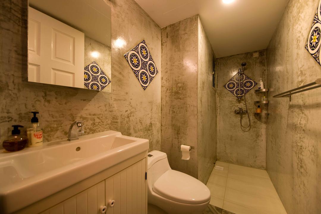 Strathmore Avenue (Block 51), Chapter One Interior Design, Industrial, Bathroom, HDB, Tiles, Brown Tiles, Ceramic, Cement, Peranakan, Toilet, Indoors, Interior Design, Room