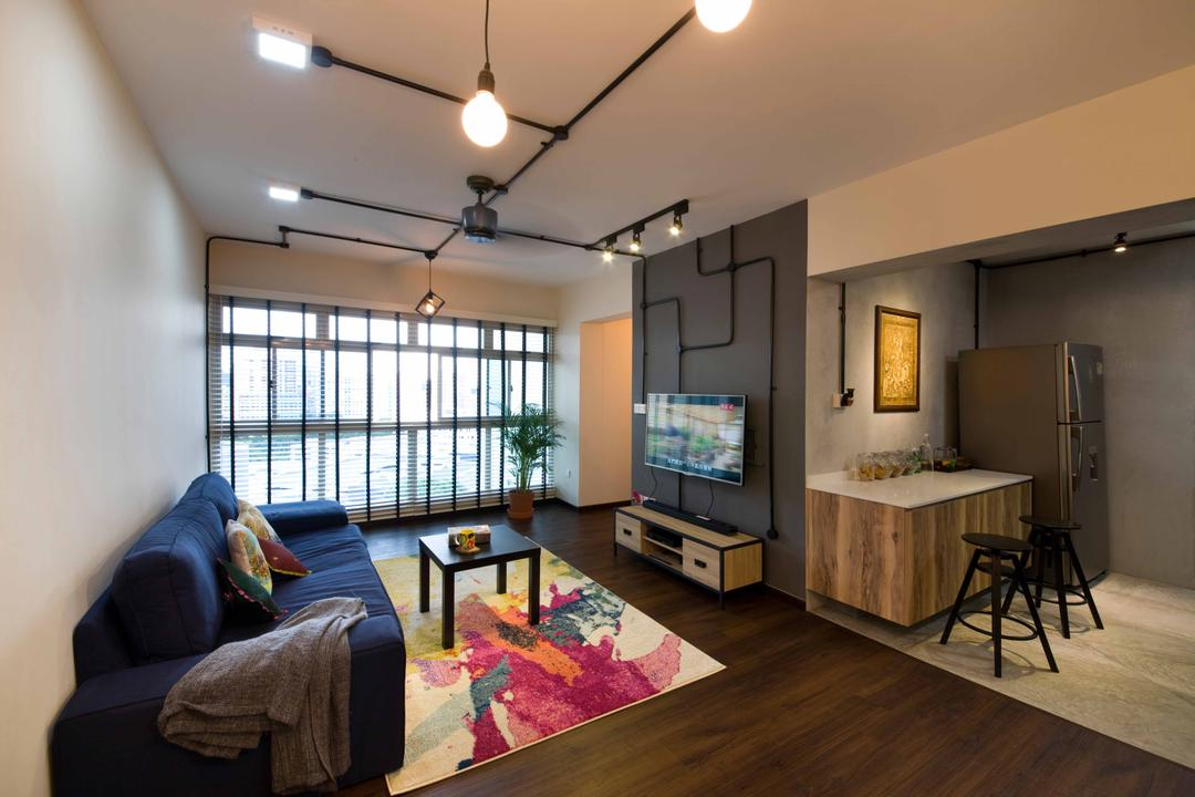 Strathmore Avenue (Block 51), Chapter One Interior Design, Industrial, Living Room, HDB, Venetian Blinds, Console, Wooden Laminate, Track Lights, Black Trackie, Trackie, Sofa, Rug, Appliance, Electrical Device, Fridge, Refrigerator, Furniture, Table, Building, Housing, Indoors, Couch
