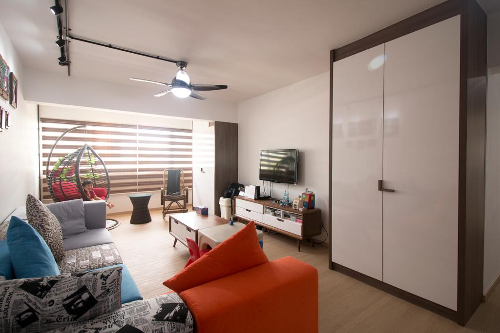 Modern, HDB, Living Room, Yishun Street 81, Interior Designer, ChanInteriors, Couch, Furniture, Light Fixture, Indoors, Room