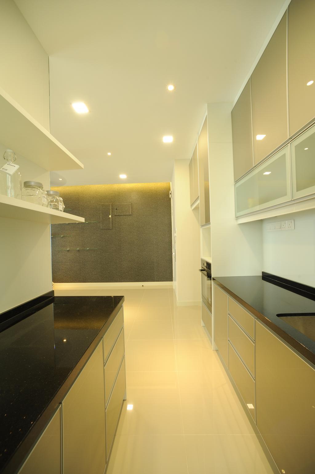 Modern, Condo, Kitchen, Scenaria Residence, Interior Designer, IQI Concept Interior Design & Renovation, Banister, Handrail, Indoors, Interior Design