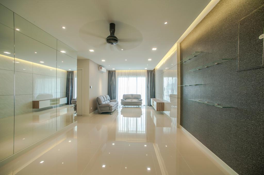Modern, Condo, Living Room, Scenaria Residence, Interior Designer, IQI Concept Interior Design & Renovation, Corridor