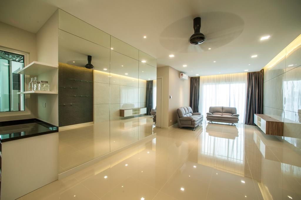 Modern, Condo, Living Room, Scenaria Residence, Interior Designer, IQI Concept Interior Design & Renovation, Flooring