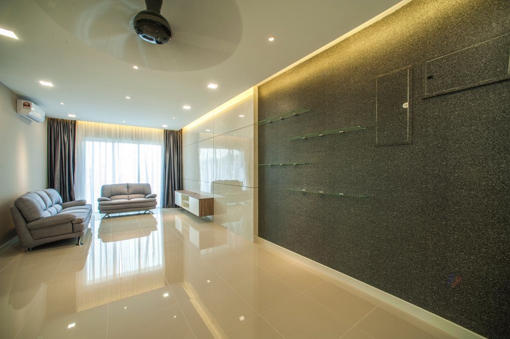 Modern, Condo, Living Room, Scenaria Residence, Interior Designer, IQI Concept Interior Design & Renovation, Indoors, Interior Design, Couch, Furniture, Room