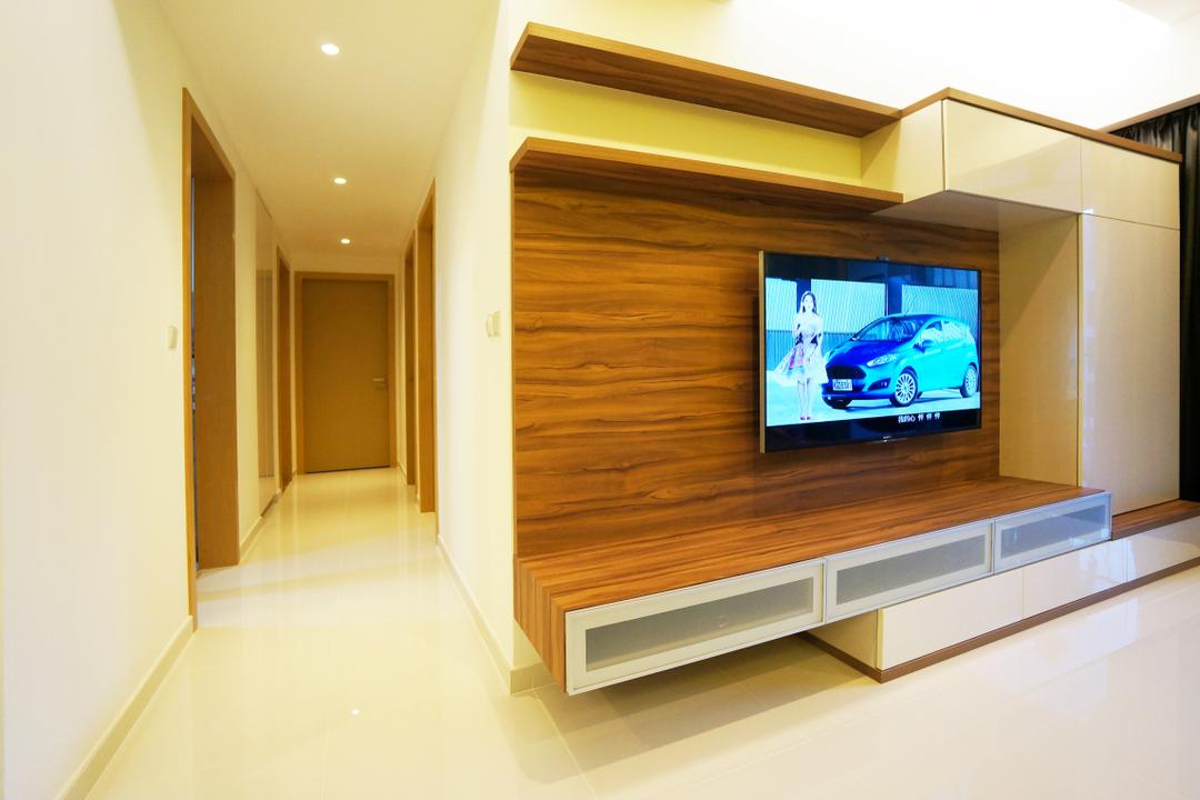 Eight Courtyard (Canberra Road), Space Atelier, Modern, Living Room, Condo, Wall Mounted Tv Shelf, Wall Mounted Tv, Tv Console, Wooden Cabinet, Halway, Corridor, Electronics, Entertainment Center