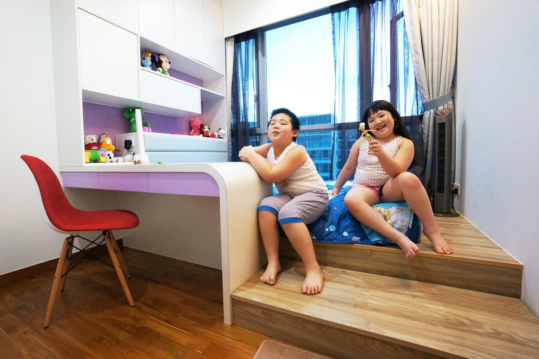 Eight Courtyard (Canberra Road), Space Atelier, Modern, Bedroom, Condo, Study Desk, Raised Steps, Human, People, Person, Chair, Furniture, Flooring, Shorts