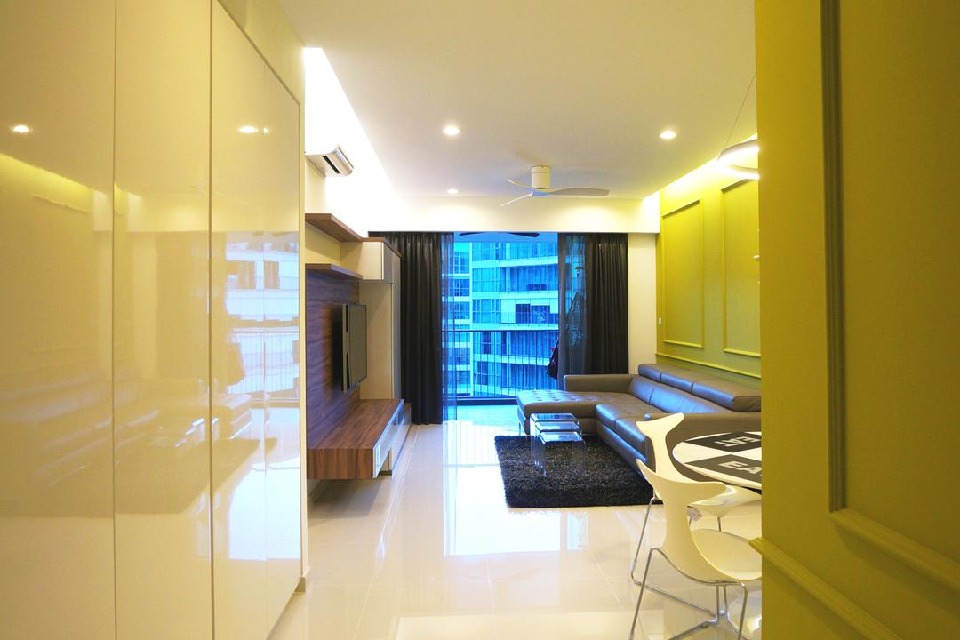 Eight Courtyard (Canberra Road), Space Atelier, Modern, Living Room, Condo, Yellow Wall, White Cupboard, Hallway, Tile, Wall Panelling, Shoe Storage, Indoors, Room