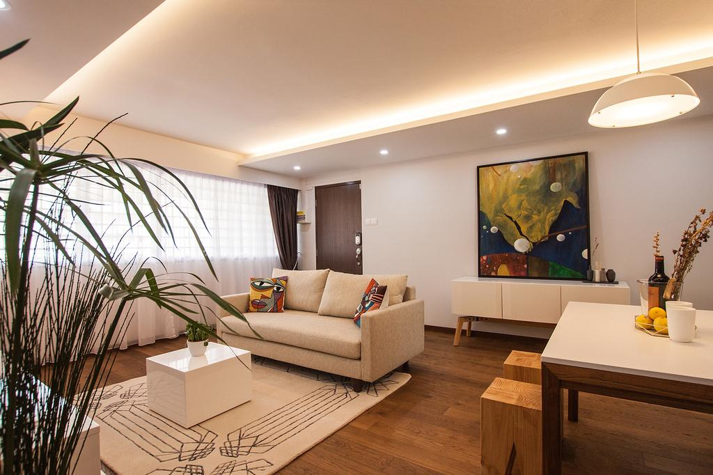 Modern, HDB, Living Room, Saint George Road, Interior Designer, Space Atelier, Potted Plant, Big House, Pendant Lamp, Cove Lightings, Area Rug, Coffee Table, Soothe, Resort, Nature Inspired, Wall Art, Wall Frames, Big Posters, Tropical