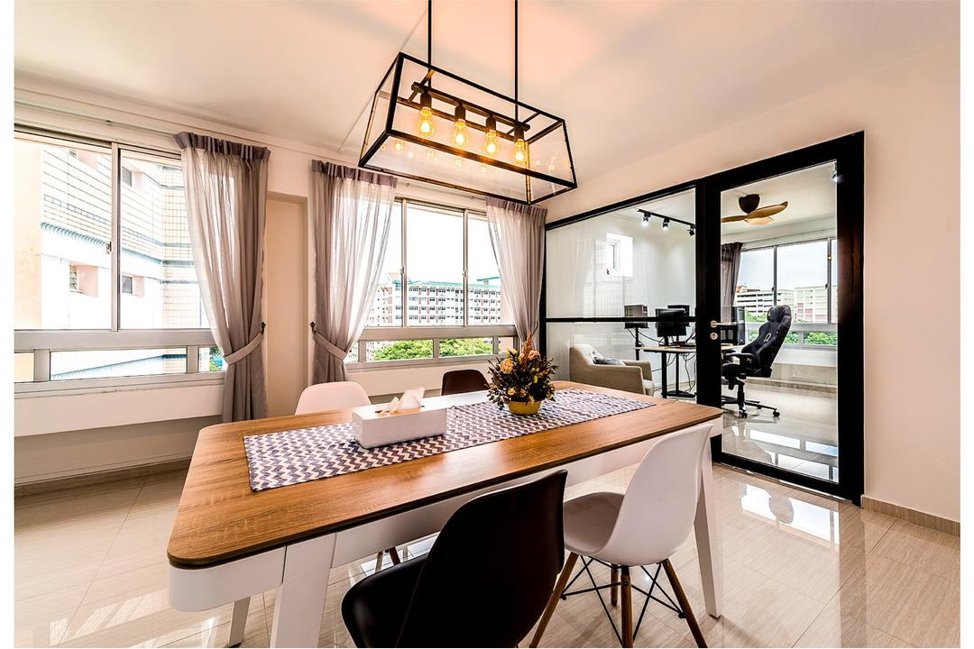 Tampines (Block 230), Faith Interior Design, Scandinavian, Dining Room, HDB, Modern Contemporary Dining Room, Wooden Dining Table, Hanging Lights, White Dining Chair, Black Dining Chair, Sling Curtain, Window Panel