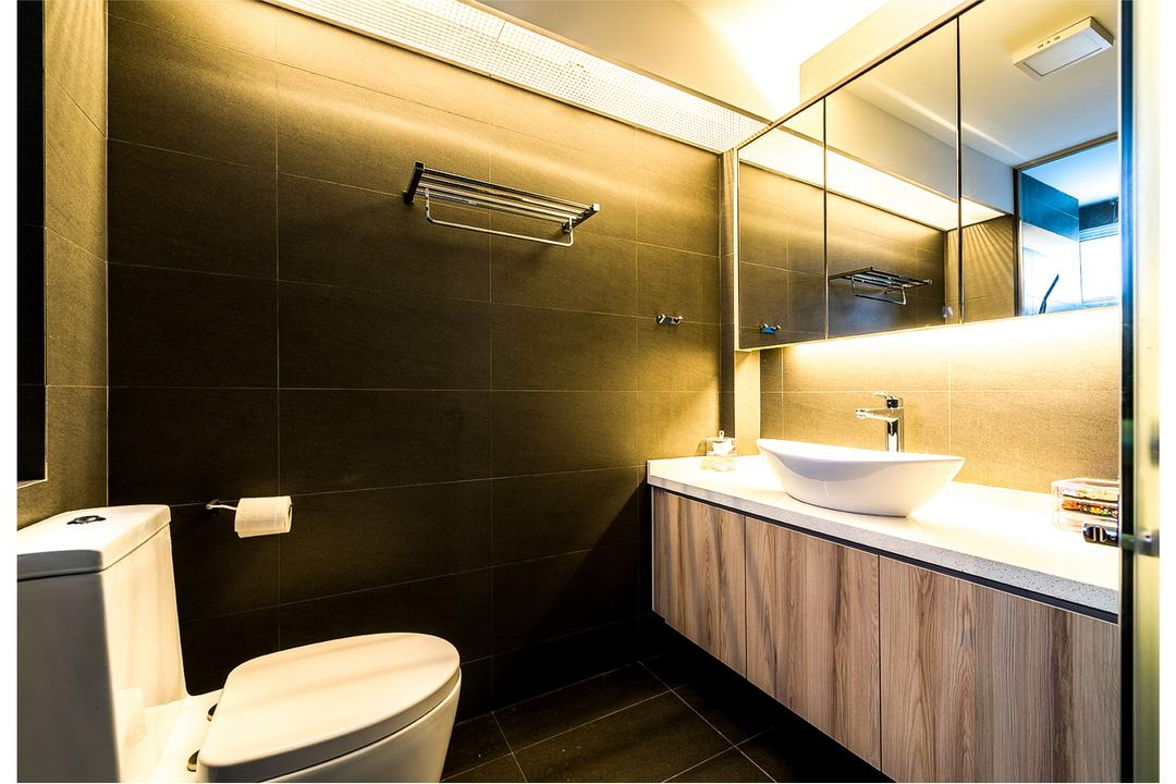 Tampines (Block 230), Faith Interior Design, Scandinavian, Bathroom, HDB, Black Ceramic Floor, Black Ceramic Wall, Sink Countertop, Protruding Sink, Hidden Interior Lighting, Wooden Bathroom Cabinet, Wooden Bathroom Cupbaord