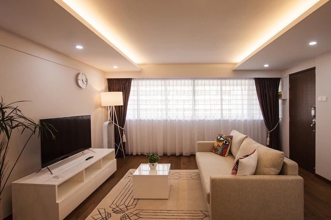 Saint George Road, Space Atelier, Modern, Living Room, HDB, Curtains, Floor Lamps, Tv Console, White Furniture, Cream Rug
