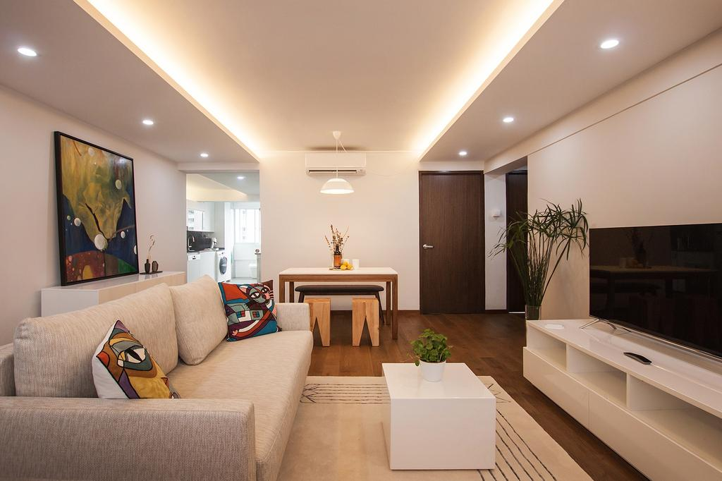 Modern, HDB, Living Room, Saint George Road, Interior Designer, Space Atelier, Cove Lighting, Soft Glow, Warm Glow, Lightings, Illumination, Recessed Lightings, White Furniture, Simple, Cosy, Resort, Relax
