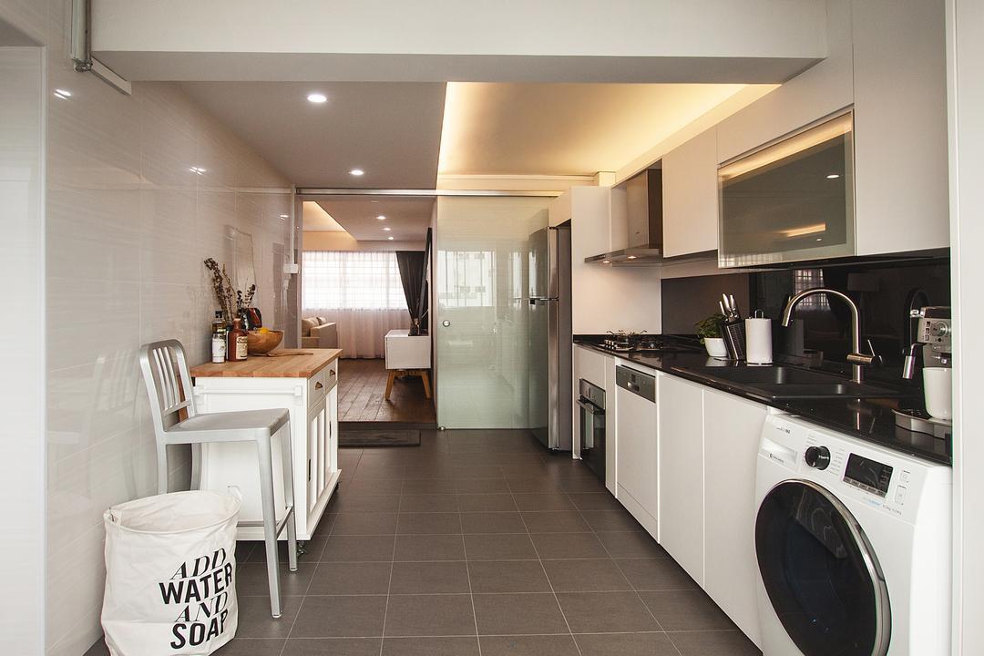 Saint George Road, Space Atelier, Modern, Kitchen, HDB, Laundry Bag, Black And White, Monochrome, Washer, Service Yard, Washing Machine, Island, Cabinet, White And Black