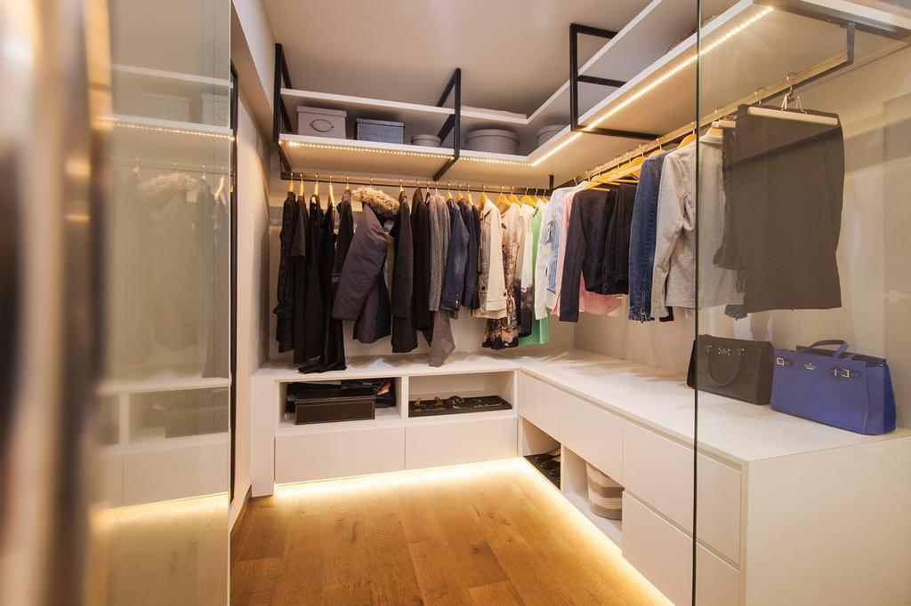 Modern, HDB, Bedroom, Saint George Road, Interior Designer, Space Atelier, Walk In Wardrobe, L Shaped Wardrobe, Cabinet Lighting Strips, Under Cabinet Lighting, Glass Partition, Cabinet, Wardrobe