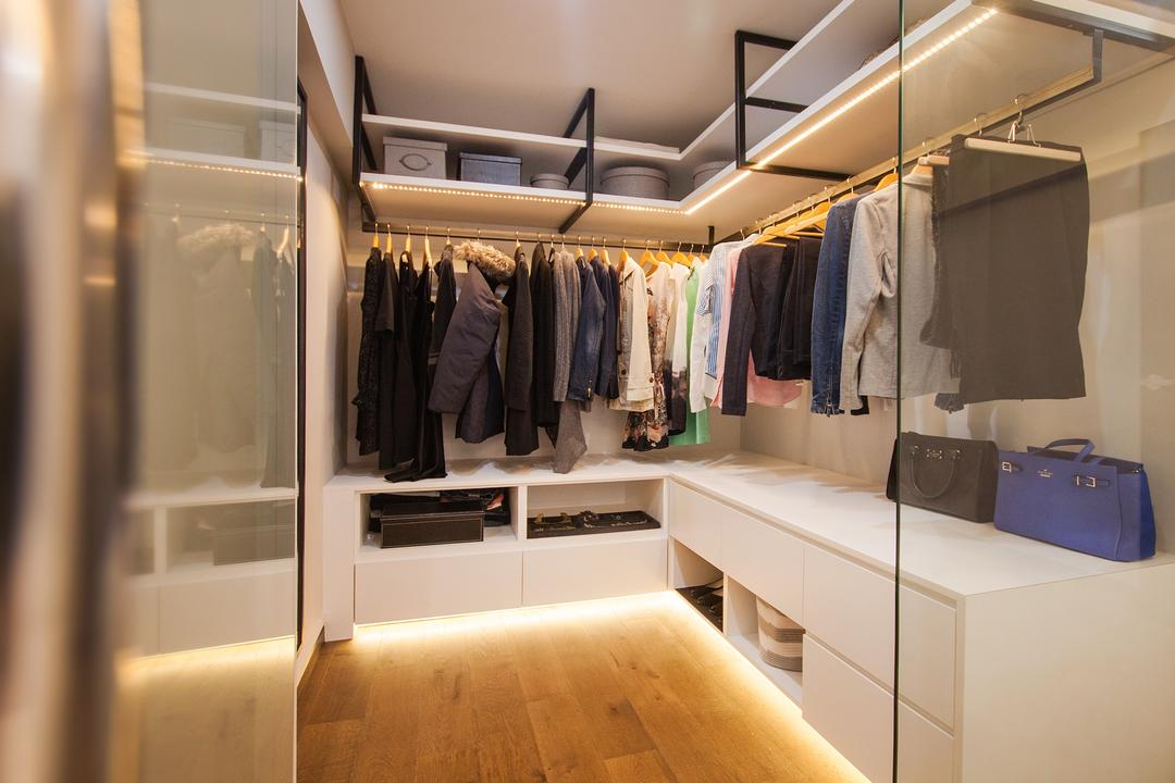 Saint George Road, Space Atelier, Modern, Bedroom, HDB, Walk In Wardrobe, L Shaped Wardrobe, Cabinet Lighting Strips, Under Cabinet Lighting, Glass Partition, Cabinet, Wardrobe