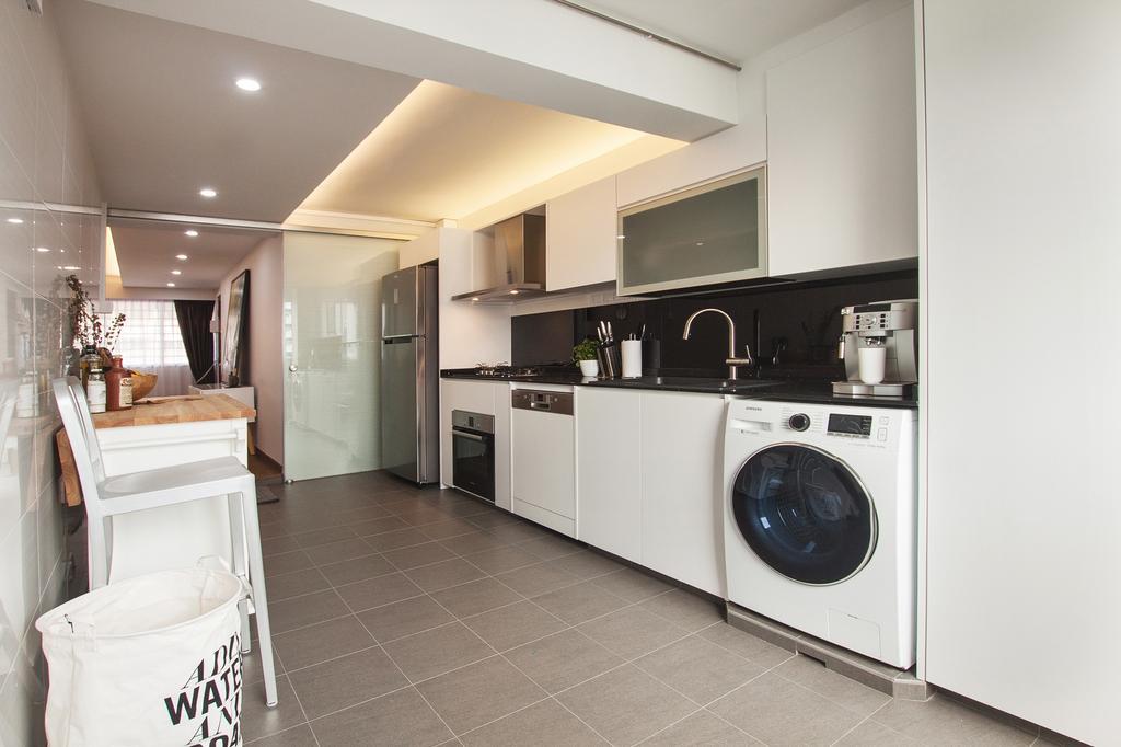 Modern, HDB, Kitchen, Saint George Road, Interior Designer, Space Atelier