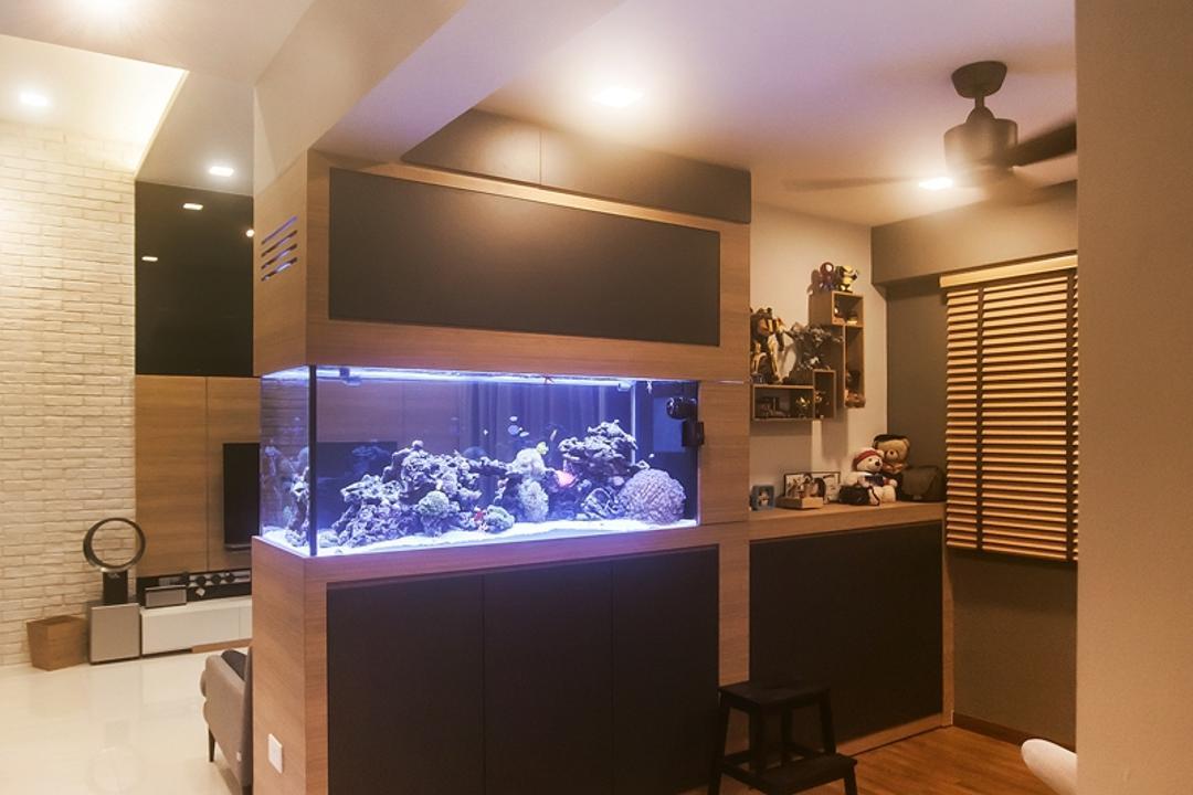 Parkland Residences, Space Atelier, Scandinavian, Living Room, HDB, Fish Tank