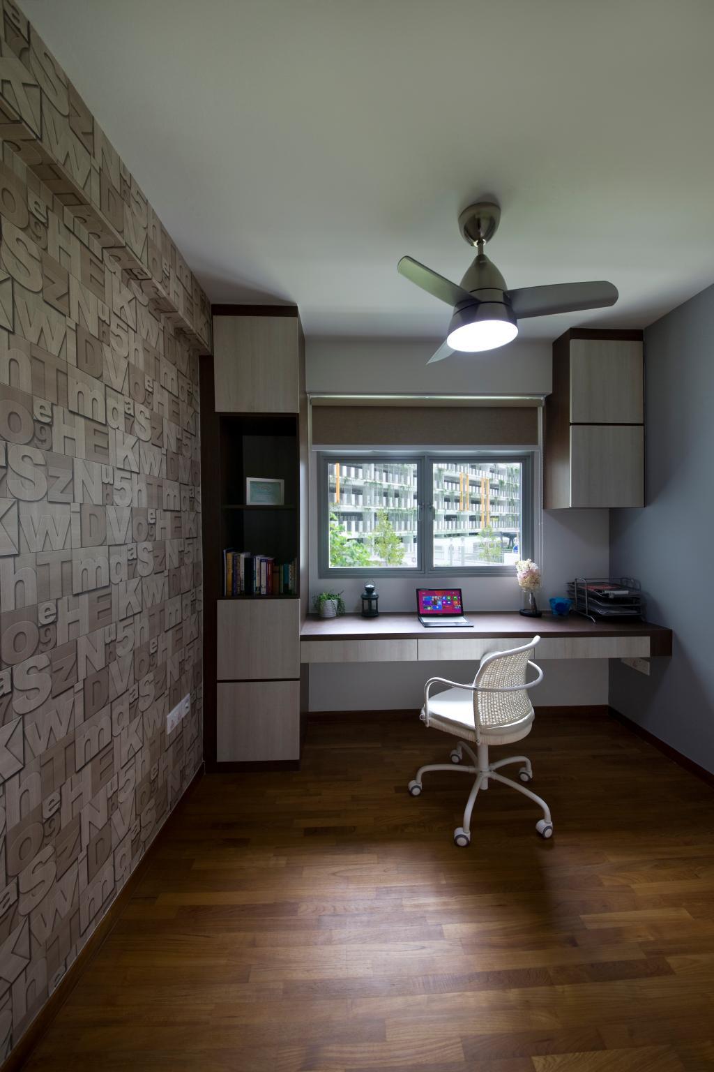 Industrial, HDB, Bedroom, Upper Serangoon View, Interior Designer, Starry Homestead, Wallpaper, Wooden Flooring, Study Desk, Parquet, Blinds, Study Table, Study Chair
