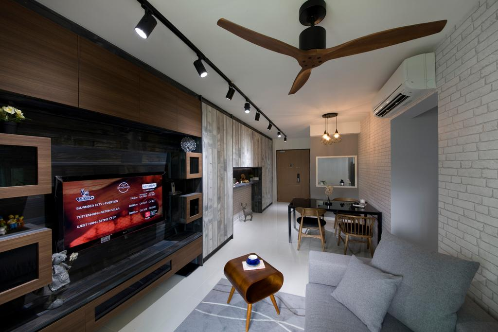 Industrial, HDB, Living Room, Upper Serangoon View, Interior Designer, Starry Homestead, Track Lighting, Brick Wall, Wooden Fan, Wood Laminate, Wooden Coffee Table, Tv Console, Rug, Human, People, Person, Indoors, Interior Design