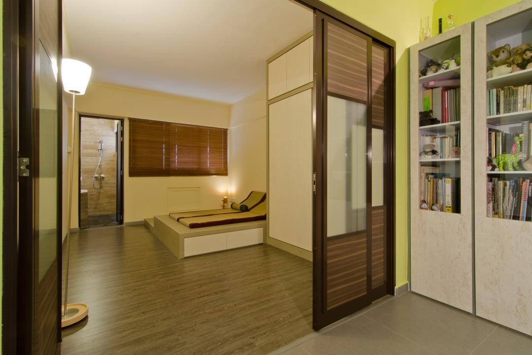 Bukit Batok, Arc Square, Transitional, Bedroom, HDB, Floor Lamp, Wooden Flooring, Brown, Brown Blinds, Blinds, Elevated Flooring, White Cabinet, Sliding Cabinet Door, Sliding Door For Cabinet, Shelves, Bookshelves, Book Shelves, Sliding Bedroom Door, Sliding Door