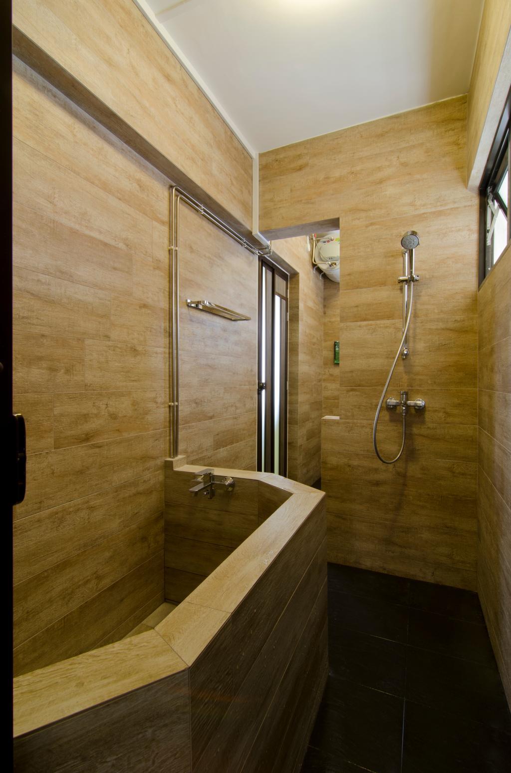 Transitional, HDB, Bathroom, Bukit Batok, Interior Designer, Arc Square, Wooden Design Wall, Toilet Wall, Wooden Theme Bath Tub, Wooden Design Bath Tub, Shower Head