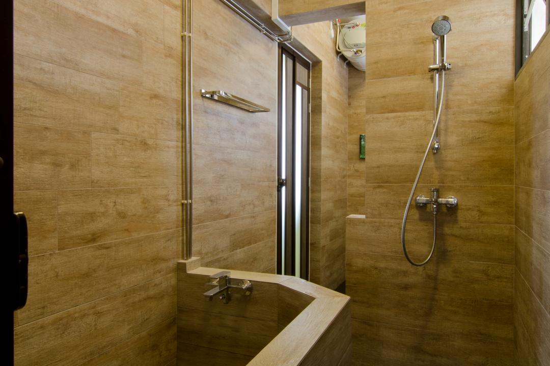 Bukit Batok, Arc Square, Transitional, Bathroom, HDB, Wooden Design Wall, Toilet Wall, Wooden Theme Bath Tub, Wooden Design Bath Tub, Shower Head