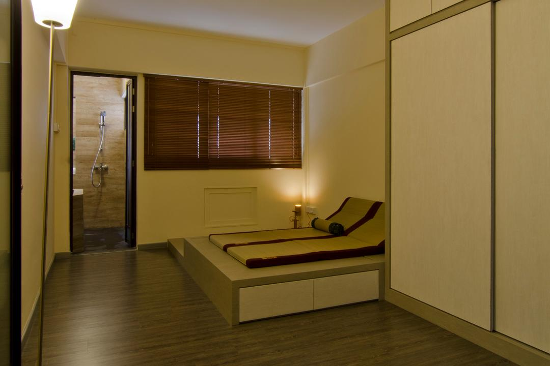 Bukit Batok, Arc Square, Transitional, Bedroom, HDB, Floor Lamp, Wooden Flooring, Brown, Brown Blinds, Blinds, Elevated Flooring, White Cabinet, Sliding Cabinet Door, Sliding Door For Cabinet