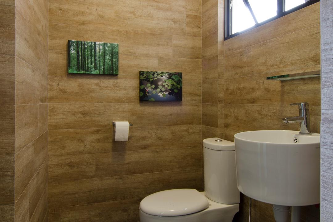 Bukit Batok, Arc Square, Transitional, Bathroom, HDB, Wooden Design Wall, Toilet Wall, Black Flooring, Art Pieces On Wall, Canvas Art On Toilet Wall, Wall Mounted Basin, Wall Mounted Sink, Sink, Basin, White Basin, White Sink, White Toilet Bowl