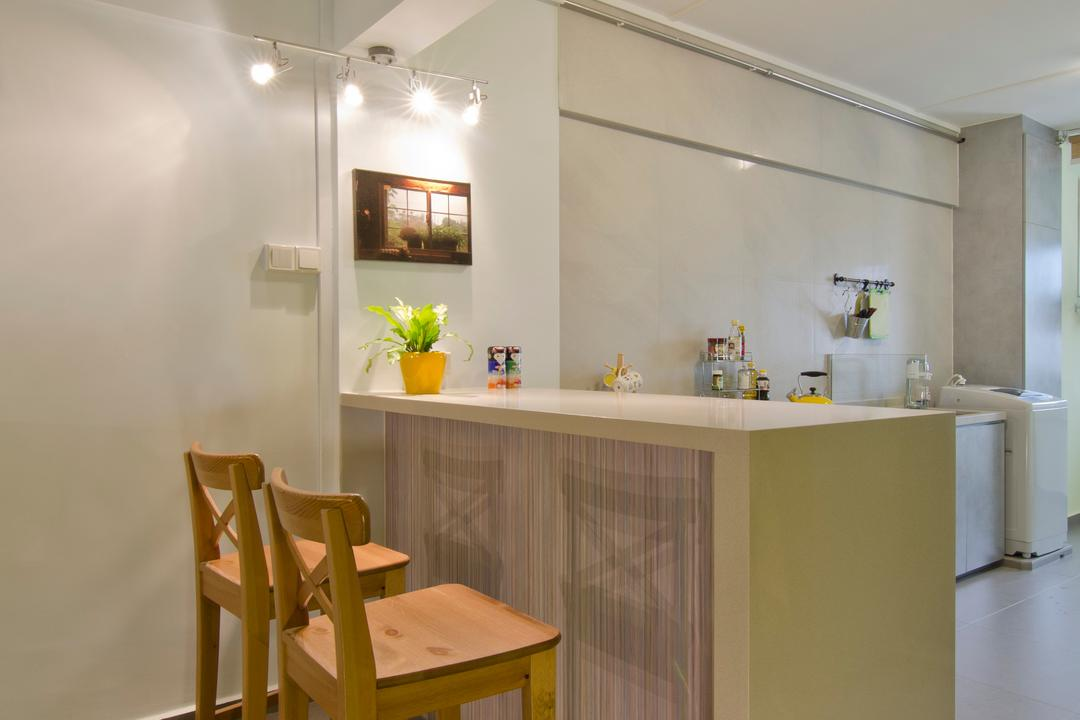Bukit Batok, Arc Square, Transitional, Kitchen, HDB, Ceiling Lighting, Modern Ceiling Spotlight, Ceiling Spotlight, Potted Plant, Kitchen Table, Kitchen Cabinet, High Bar Stools, High Kitchen Chairs, High Chairs, Wooden Chair, Wooden Chairs