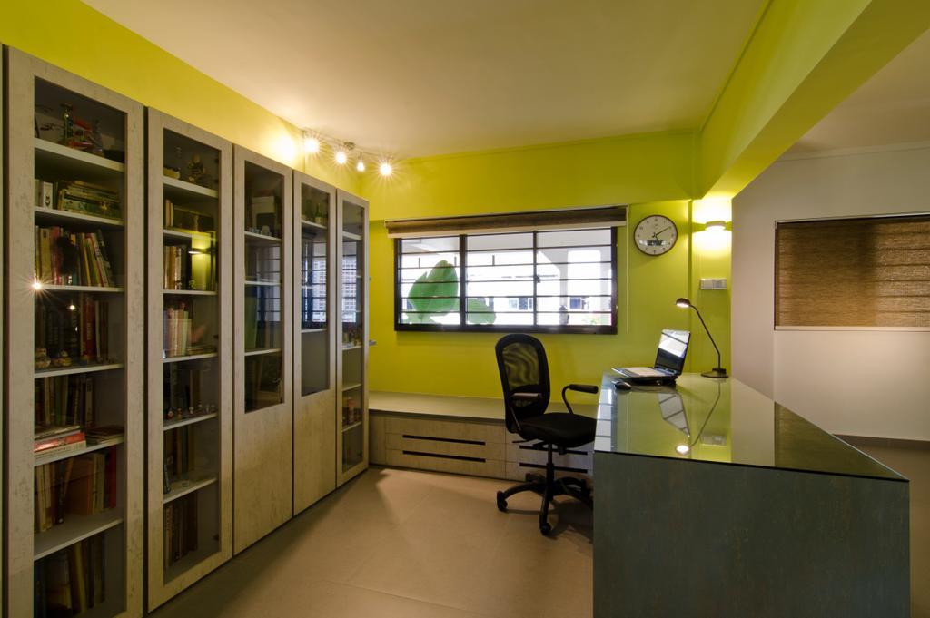 Transitional, HDB, Study, Bukit Batok, Interior Designer, Arc Square, Ceiling Lighting, Ceiling Lights, Green Wall, Glass Table Top Of Desk, Study Desk, Blinds, Cabinets, Book Shelves, Shelves