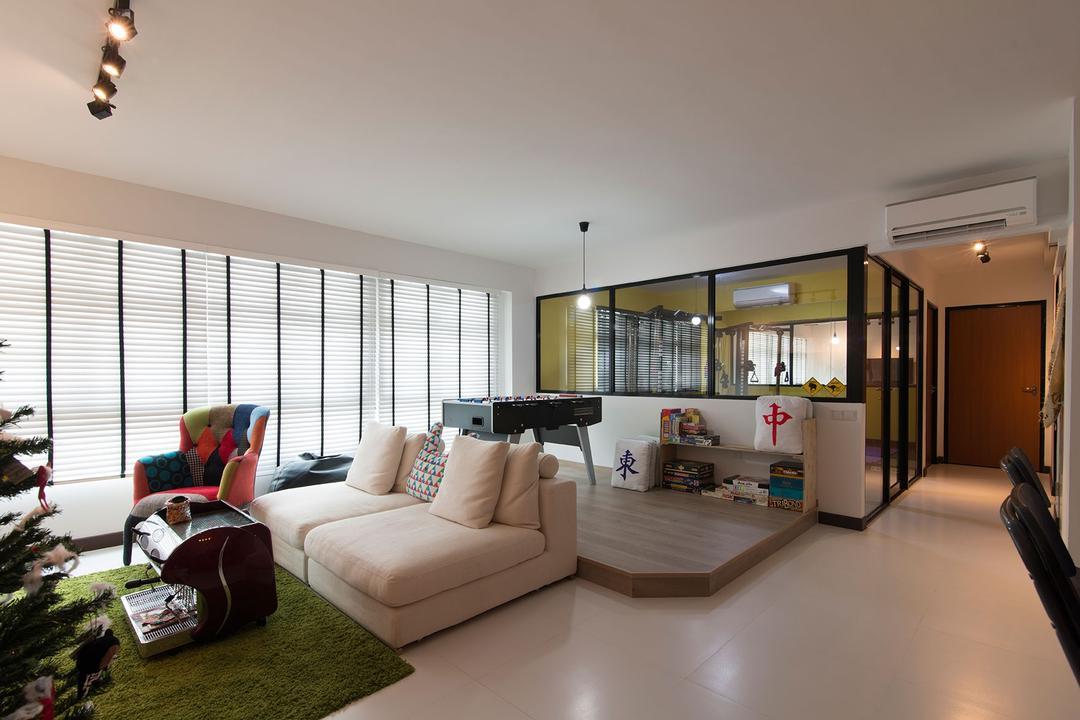 Fernvale Link, Arc Square, Eclectic, Living Room, HDB, Ceiling Light, Pendant Light, Sofa, White Sofa, Green Rug, Elevated Flooring