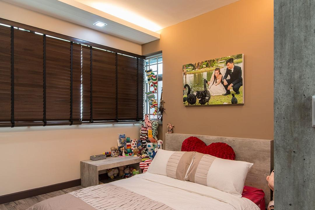 Fernvale Link, Arc Square, Eclectic, Bedroom, HDB, Portrait Above Bed, Ceiling Light, Indirect Ceiling Lighting, Bed Directly On Floor, Bed On Floor, Blinds, Ceiling Lighting