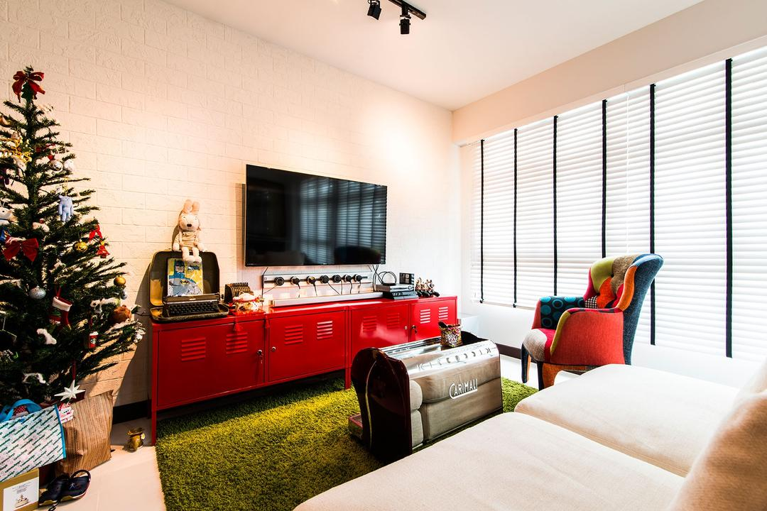 Fernvale Link, Arc Square, Eclectic, Living Room, HDB, Christmas Tree, Flatscreen Tv, Tv, Modern Ceiling Spotlight, Ceiling Light, Rug, Grass Rug, Green Rug, Red Tv Cabinet, Tv Cabinet, Red Black Arm Chair, Arm Chair, Chair, Blinds, White Blinds