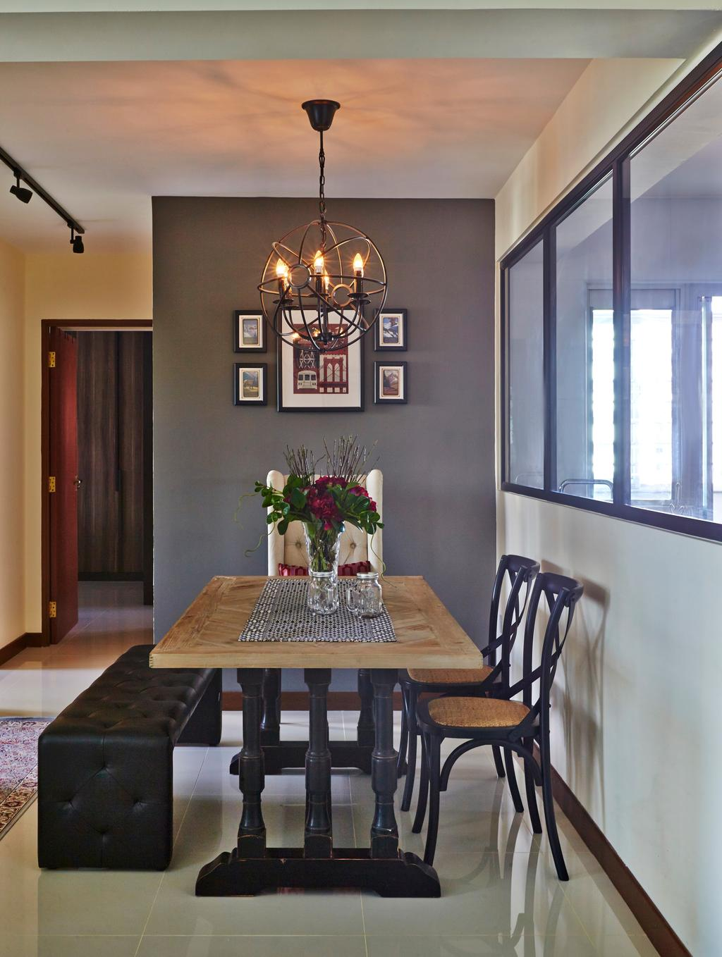 Eclectic, HDB, Dining Room, Tampines Greenlace, Interior Designer, Fuse Concept, Transitional, Indoors, Interior Design, Room, Chair, Furniture, Chandelier, Lamp, Dining Table, Table, Flora, Jar, Plant, Potted Plant, Pottery, Vase