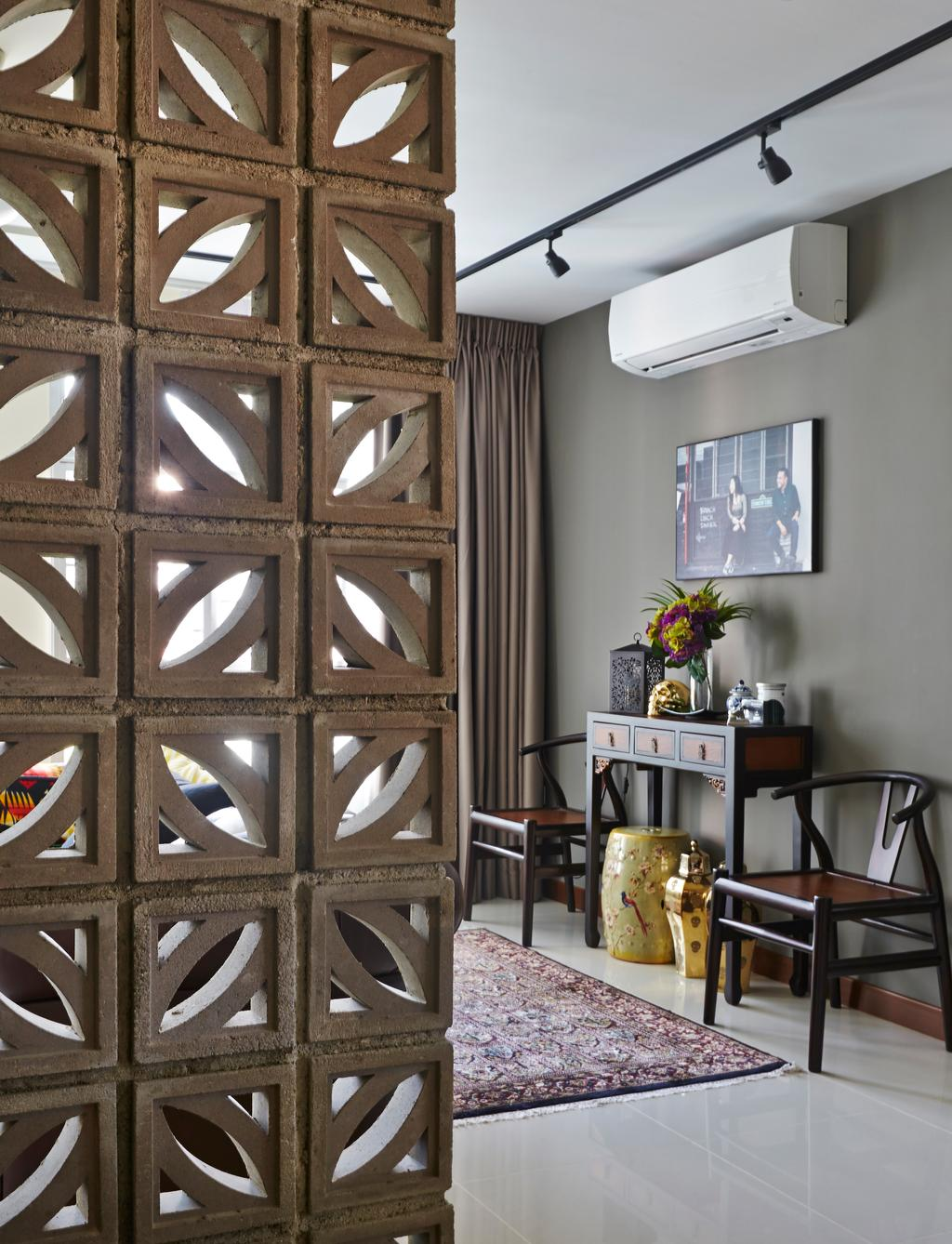 Eclectic, HDB, Living Room, Tampines Greenlace, Interior Designer, Fuse Concept, Transitional, Flora, Jar, Plant, Potted Plant, Pottery, Vase, Dining Room, Indoors, Interior Design, Room, Banister, Handrail, Triangle