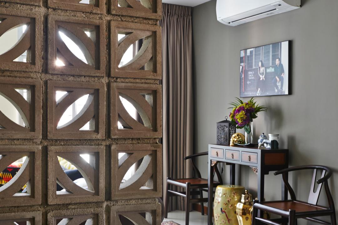 Tampines Greenlace, Fuse Concept, Eclectic, Transitional, Living Room, HDB, Flora, Jar, Plant, Potted Plant, Pottery, Vase, Dining Room, Indoors, Interior Design, Room, Banister, Handrail, Triangle