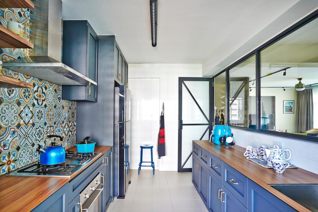 Eclectic, HDB, Kitchen, Tampines Greenlace, Interior Designer, Fuse Concept, Transitional, Cleaning
