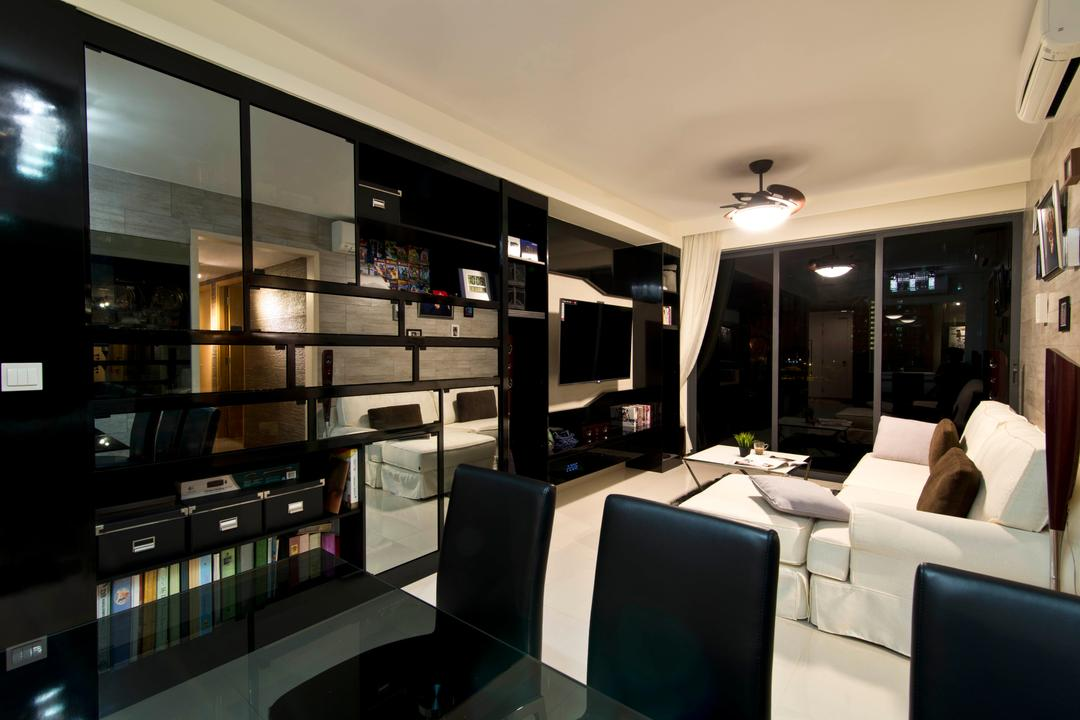 Prive, Arc Square, Traditional, Dining Room, Condo, White Sofa, Black Chairs, Black Dining Table And Chairs