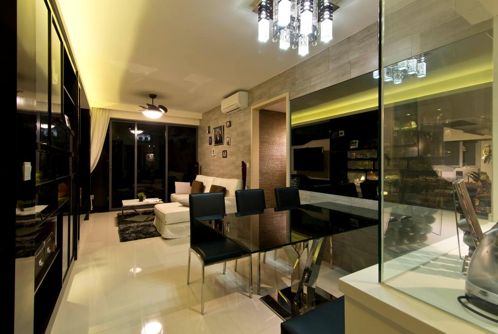 Traditional, Condo, Dining Room, Prive, Interior Designer, Arc Square, Black Dining Table And Chairs, Ceiling Lighting, Pendant Light
