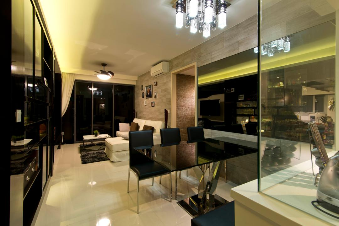 Prive, Arc Square, Traditional, Dining Room, Condo, Black Dining Table And Chairs, Ceiling Lighting, Pendant Light