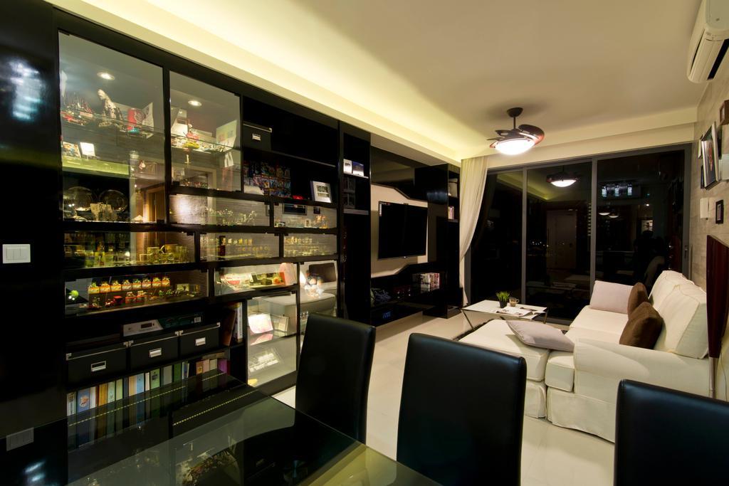 Traditional, Condo, Dining Room, Prive, Interior Designer, Arc Square, Sofa, White Sofa, Black Shelves