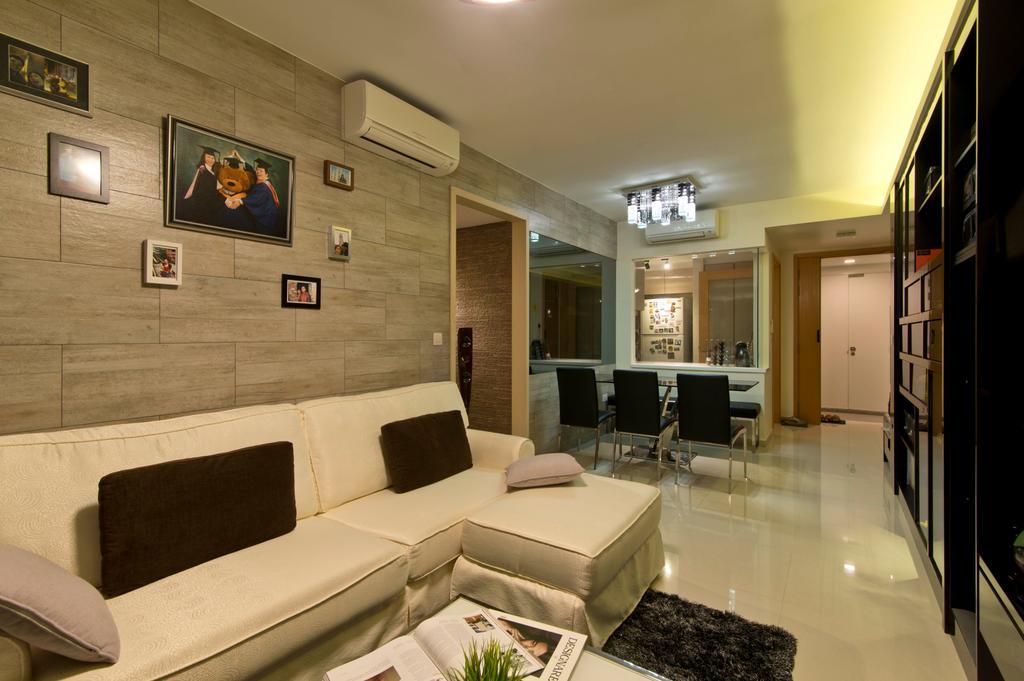 Traditional, Condo, Living Room, Prive, Interior Designer, Arc Square, Portraits On Wall, Portraits, L Shaped Sofa, Sofa, White L Shaped Sofa