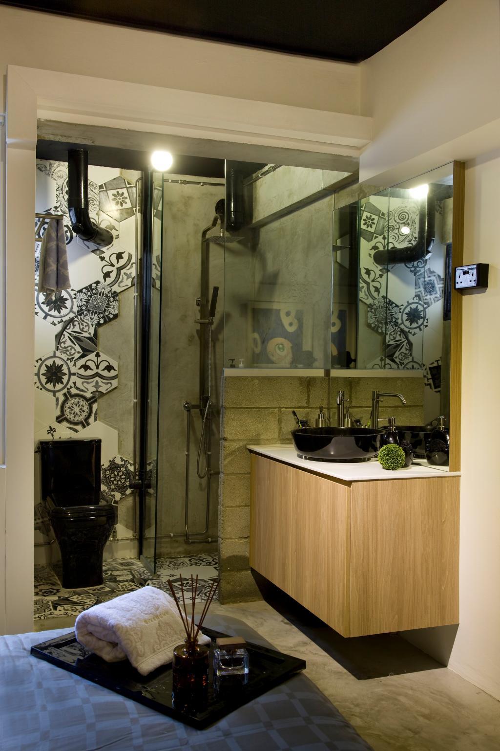 Contemporary, HDB, Bathroom, Serangoon Ave 4, Interior Designer, Edge Interior, Sink, Fireplace, Hearth