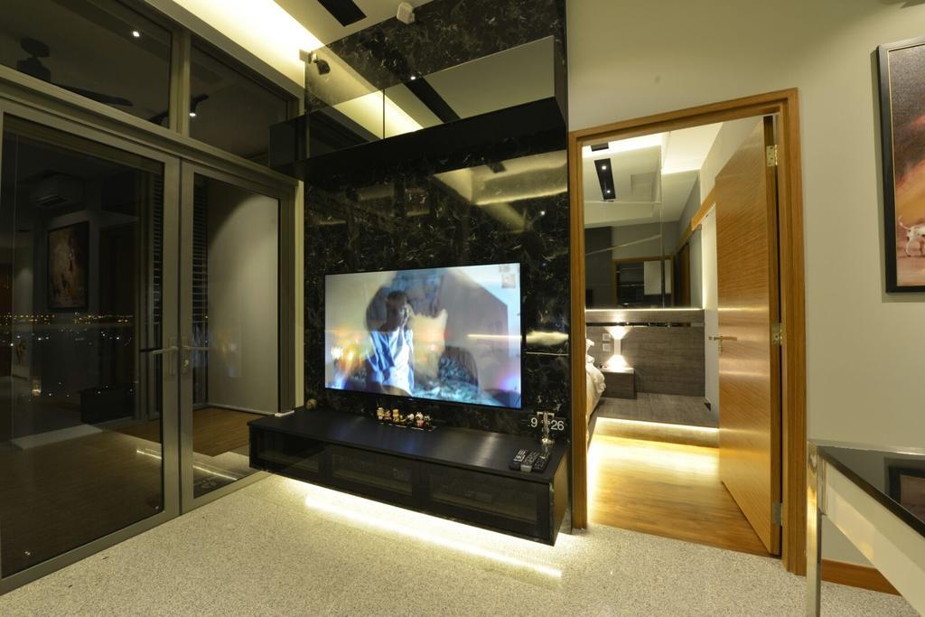 Contemporary, Condo, Living Room, Seahill, Interior Designer, Earth Interior Design Pte Ltd, Electronics, Entertainment Center, Home Theater