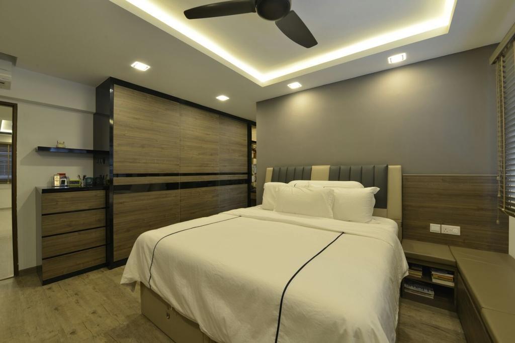 Modern, HDB, Bedroom, Serangoon, Interior Designer, Earth Interior Design Pte Ltd, Bed, Furniture, Lighting, Chair
