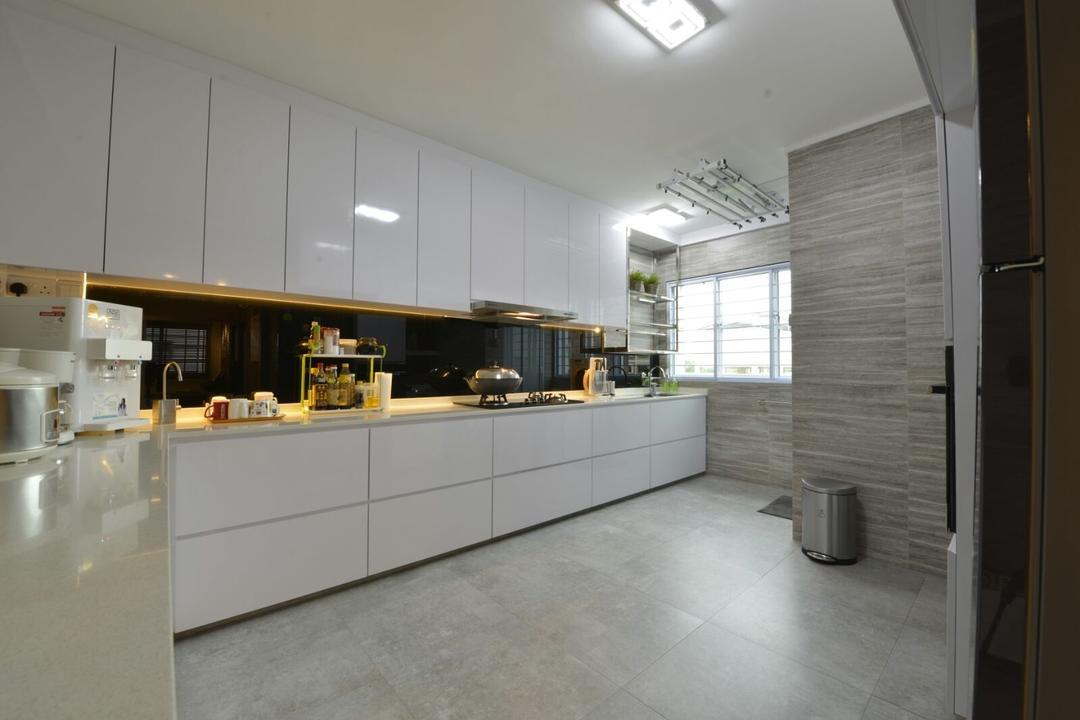 Serangoon, Earth Interior Design Pte Ltd, Modern, Kitchen, HDB, Ceramic Floor, White Laminated Cabinet, White Laminated Cupboard, Ceiling Lights, Hidden Interior Lighting, Modern Contemporary Kitchen