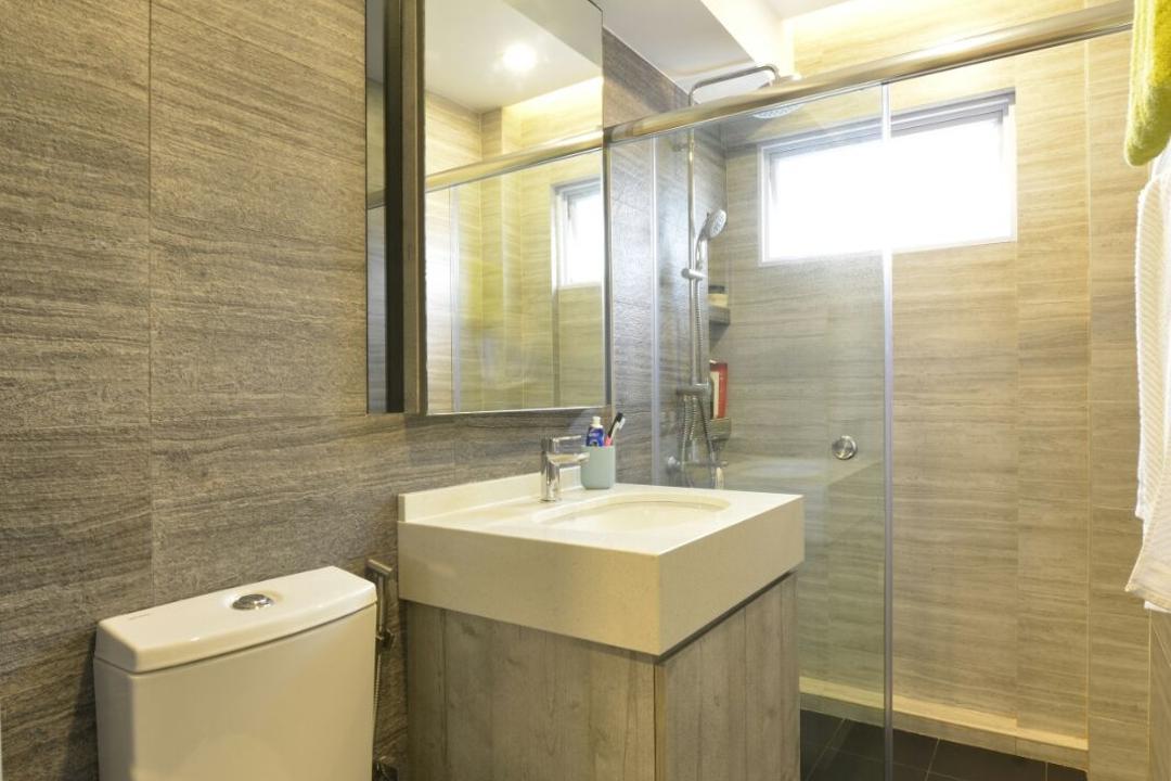 Serangoon, Earth Interior Design Pte Ltd, Modern, Bathroom, HDB, Black Ceramic Tiles, Wooden Wall, Protruding Sink, Wooden Cabinet, Wooden Cupboard, Modern Contemporary Bathroom, Hidden Interior Lighting, Indoors, Interior Design, Room, Sink