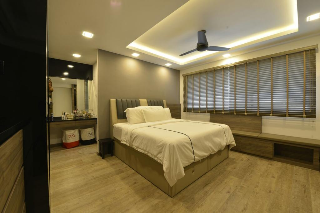 Modern, HDB, Bedroom, Serangoon, Interior Designer, Earth Interior Design Pte Ltd, Wooden Floor, , King Size Bed, Ceiling Fan, Coffered Ceiling, Recessed Lights, Hidden Interior Lighting, Roll Down Curtain, Cozy, Cosy, Modern Contemporary Bedroom, Lighting, Bed, Furniture, Couch