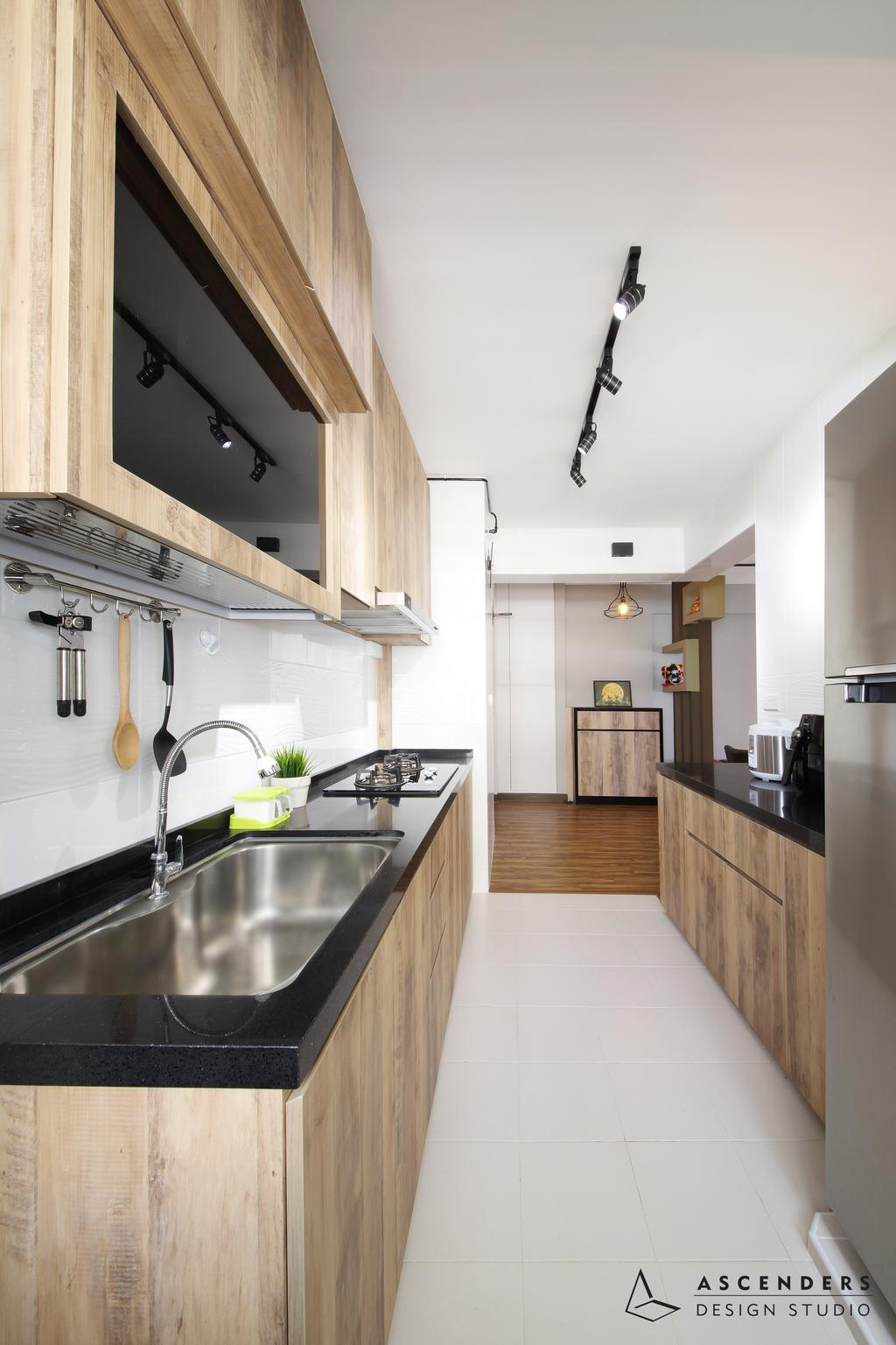 Contemporary, HDB, Kitchen, Fajar Road (Block 443B), Interior Designer, Ascenders Design Studio, Track Lights, Wooden Kitchen Cabinet, Wooden Kitchen Cupboard, Black Lamianted Top, White Ceramic Tiles, Modern Contemporary Kitchen, Indoors, Interior Design, Room