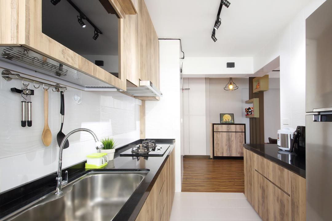 Fajar Road (Block 443B), Ascenders Design Studio, Contemporary, Kitchen, HDB, Track Lights, Wooden Kitchen Cabinet, Wooden Kitchen Cupboard, Black Lamianted Top, White Ceramic Tiles, Modern Contemporary Kitchen, Indoors, Interior Design, Room