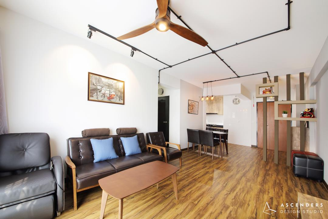 Fajar Road (Block 443B), Ascenders Design Studio, Contemporary, Living Room, HDB, Modern Contemporary Living Room, Wooden Floor, Track Lights, Ceiling Fan, Wooden Table, Black Sofa, Hanger, Luggage, Suitcase, Chair, Furniture, Couch